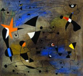Joan miro<br /> Woman and Birds, ca. 1940<br /> india ink, gouach, and oil wash on paper, 27.9 X 30.5<br /> B70.0195